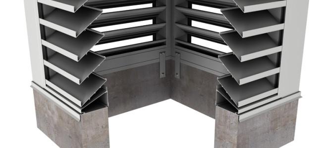 BCDE635 – 35° Blade Box Corner Penthouse Drainable Louver