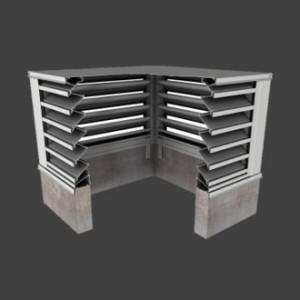 1. BCDE439 – 39° Blade Box Corner Penthouse Drainable Louver