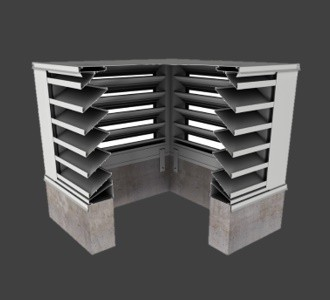 BCDE635 – 35° Blade Box Corner Penthouse Drainable Louver