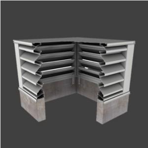 3. BCJE443 – 43° J-Blade Box Corner Penthouse Drainable Louver