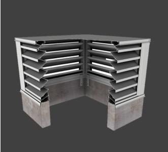 BCZE439 – 39° Z-Blade Box Corner Penthouse Drainable Louver
