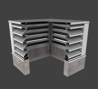 BCZE445 – 45° Z-Blade Box Corner Penthouse Stationary Louver