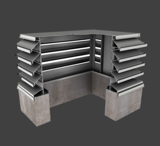 MCDE439 – 39° Blade Miter Corner Penthouse Stationary Louver